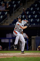 Aberdeen Ironbirds Kyle Stowers (54) at bat during a NY-Penn League game against the Staten Island Yankees on August 22, 2019 at Richmond County Bank Ballpark in Staten Island, New York.  Aberdeen defeated Staten Island 4-1 in a rain shortened game.  (Mike Janes/Four Seam Images)