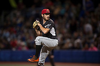 Salem-Keizer Volcanoes relief pitcher Ryan Walker (18) delivers a pitch during a Northwest League game against the Hillsboro Hops at Ron Tonkin Field on September 1, 2018 in Hillsboro, Oregon. The Salem-Keizer Volcanoes defeated the Hillsboro Hops by a score of 3-1. (Zachary Lucy/Four Seam Images)