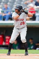 D'Angelo Jimenez #28 of the Rochester Red Wings at bat against the Charlotte Knights at Knights Stadium August 1, 2010, in Fort Mill, South Carolina.  Photo by Brian Westerholt / Four Seam Images