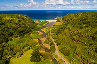 Aerial view of Waimea Valley and River looking out towards the sea, North Shore of O'ahu.