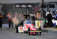 Sept. 15, 2012; Concord, NC, USA: NHRA top fuel dragster driver Doug Kalitta during qualifying for the O'Reilly Auto Parts Nationals at zMax Dragway. Mandatory Credit: Mark J. Rebilas-