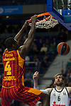 Real Madrid´s Andres Nocioni and Galatasaray´s Young during 2014-15 Euroleague Basketball match between Real Madrid and Galatasaray at Palacio de los Deportes stadium in Madrid, Spain. January 08, 2015. (ALTERPHOTOS/Luis Fernandez)