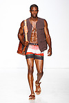 Model walks runway in an outfit from the Parke & Ronen Spring 2018 collection by Parke Lutter and Ronen Jehezkel, at Skylight Clarkson Square on July 12, 2017; during New York Fashion Week: Men's Spring Summer 2018.