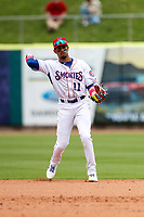 Tennessee Smokies second baseman Christopher Morel (11) on defense against the Montgomery Biscuits on May 9, 2021, at Smokies Stadium in Kodak, Tennessee. (Danny Parker/Four Seam Images)