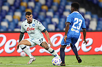 Andrea Petagna of SSC Napoli and Stephane Omeonga of SC Pescara compete for the ball<br /> during the friendly football match between SSC Napoli and Pescara Calcio 1936 at stadio San Paolo in Napoli, Italy, September 11, 2020. <br /> Photo Cesare Purini / Insidefoto
