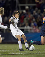 """Boston College forward Victoria DiMartino (1) shoots the ball. Boston College defeated West Virginia, 4-0, in NCAA tournament """"Sweet 16"""" match at Newton Soccer Field, Newton, MA."""