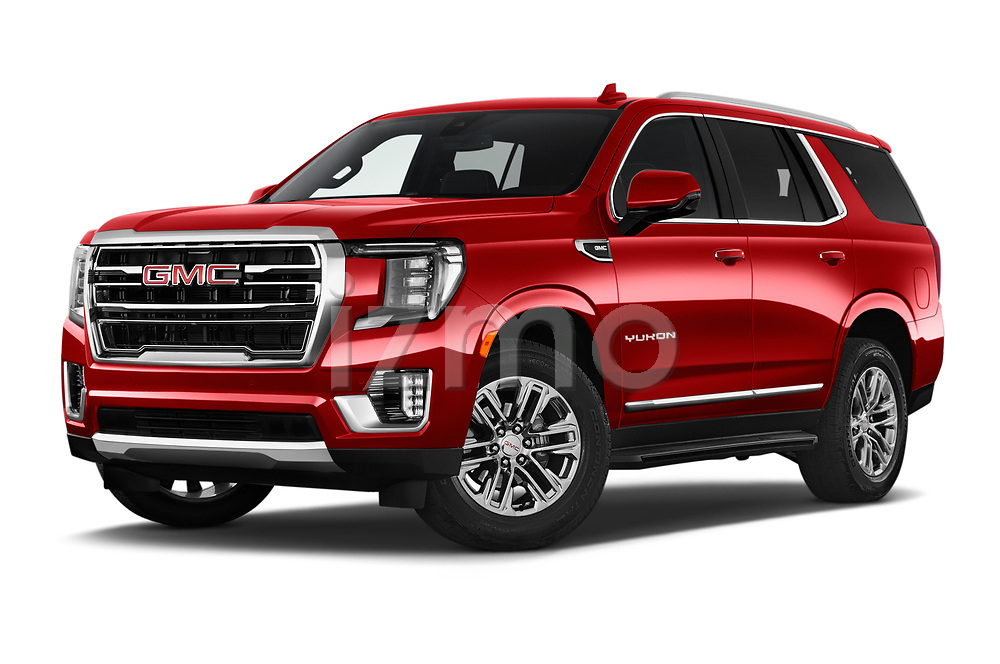 Stock pictures of low aggressive front three quarter view of 2021 GMC Yukon SLT 5 Door SUV Low Aggressive