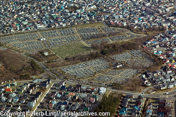 aerial photograph of a cemetery in Hakodate, Hokkaido, Japan