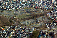 aerial photograph of a cemetery in Hakodate, Hokkaido, Japan