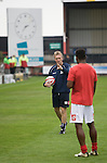 Crewe Alexandra 1 Aldershot 2, 09/09/2009. Gresty Road, League 2. Crewe Alexandra assistant manager Steve Davis giving instructions to one of his Crewe Alexandra players as they warm up prior to their League 2 fixture against Aldershot Town at the Alexandra Stadium. The visitors won by 2 goals to 1. Photo by Colin McPherson.