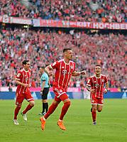 14.04.2018, Football 1. Bundesliga 2017/2018, 30.  match day, FC Bayern Muenchen - Borussia Moenchengladbach, in Allianz-Arena Muenchen.   Sandro Wagner (middle, FC Bayern Muenchen) and Thiago (FC Bayern Muenchen) and Sebastian Rudy (FC Bayern Muenchen). *** Local Caption *** © pixathlon<br /> <br /> Contact: +49-40-22 63 02 60 , info@pixathlon.de