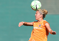 Kacey White #20 of Sky Blue FC heads the ball during a WPS match against the Washington Freedom at RFK Stadium on May 23, 2009 in Washington D.C. Freedom won the match 2-1