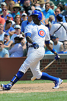 Chicago Cubs left fielder Alfonso Soriano #12 swings at a pitch during a game against the Arizona Diamondbacks at Wrigley Field on July 15, 2012 in Chicago, Illinois. The Cubs defeated the Diamondbacks 3-1. (Tony Farlow/Four Seam Images).