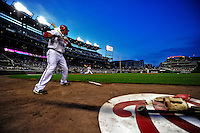 21 June 2010: Washington Nationals' shortstop Ian Desmond stands on deck as teammate Mike Morse hits one foul against the Kansas City Royals at Nationals Park in Washington, DC. The Nationals edged out the Royals 2-1 in the first game of their 3-game interleague series, snapping a 6-game losing streak. Mandatory Credit: Ed Wolfstein Photo