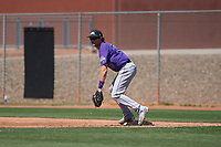 Colorado Rockies first baseman Tyler Kevin (30) during an Extended Spring Training game against the San Diego Padres at Peoria Sports Complex on March 30, 2018 in Peoria, Arizona. (Zachary Lucy/Four Seam Images)