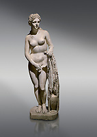 Roman statue of Aphrodite. Marble. Perge. 2nd century AD. Inv no 2014/191 . Antalya Archaeology Museum; Turkey.<br /> <br /> Aphrodite is an ancient Greek goddess associated with love, beauty, pleasure, and procreation. She is identified with the planet Venus, which is named after the Roman goddess Venus, with whom Aphrodite was extensively syncretized. Aphrodite's major symbols include myrtles, roses, doves, sparrows, and swans.