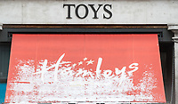 Hamleys world famous Toy Store with snow covering the sign as the Beast from the East weather continues at City of London, London, England on 1 March 2018. Photo by Andy Rowland.