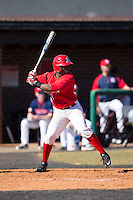 Lorenzo Wright (9) of the Belmont Abbey Crusaders at bat against the Shippensburg Raiders at Abbey Yard on February 8, 2015 in Belmont, North Carolina.  The Raiders defeated the Crusaders 14-0.  (Brian Westerholt/Four Seam Images)