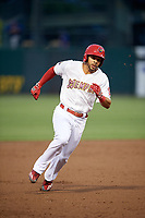 Memphis Redbirds center fielder Tommy Pham (27) running the bases during a game against the Round Rock Express on April 28, 2017 at AutoZone Park in Memphis, Tennessee.  Memphis defeated Round Rock 9-1.  (Mike Janes/Four Seam Images)