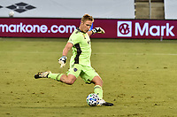 KANSAS CITY, KS - SEPTEMBER 13: Tim Melia #29 of Sporting Kansas City drives the ball upfield during the second half during a game between Minnesota United FC and Sporting Kansas City at Children's Mercy Park on September 13, 2020 in Kansas City, Kansas.