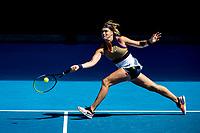 14th February 2021, Melbourne, Victoria, Australia; Aryna Sabalenka of Belarus returns the ball during round 4 of the 2021 Australian Open on February 14 2020, at Melbourne Park in Melbourne, Australia.