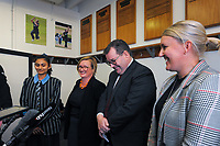 From left, Wellington Blaze and Student Lead of the Cricket Wellington Youth Leaders Programme Dhriti Girish, ICC Women's Cricket World Cup chief executive Andrea Nelson, NZ Minister for Sport and recreation Grant Robertson and Cricket Wellington general manager and former White Fern Liz Green. 2022 Women's Cricket World Cup tournament venues presser at the Basin Reserve in Wellington, New Zealand on Tuesday, 17 November 2020. Organisers for the 2022 Women's Cricket World Cup are welcoming a $2 million funding boost that will go towards upgrading player facilities at the five New Zealand venues for the tournament. Photo: Dave Lintott / lintottphoto.co.nz