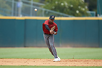 Shortstop Kahlil Watson (9) of Wake Forest HS in Wake Forest, NC playing for the Arizona Diamondbacks scout team makes a throw to first base during the East Coast Pro Showcase at the Hoover Met Complex on August 2, 2020 in Hoover, AL. (Brian Westerholt/Four Seam Images)