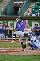 John Cresto (27) of the Grand Junction Rockies bats in front of catcher Tre Todd (11) during a game against the Ogden Raptors at Lindquist Field on September 7, 2018 in Ogden, Utah. The Rockies defeated the Raptors 8-5. (Stephen Smith/Four Seam Images)