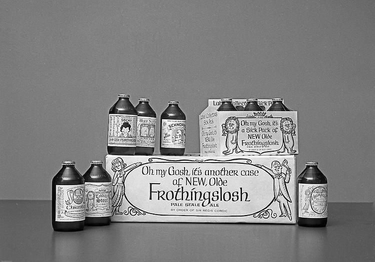 """Client: Pittsburgh Brewing Company<br /> Ad Agency: Ketchum, MacLeod & Grove<br /> Contact:<br /> Product: Olde Frothingslosh<br /> Location:  Brady Stewart Studio at 725 Liberty Avenue in Pittsburgh<br /> <br /> Radio personality Rege Cordic's beer joke turned into successful annual Christmas promotions for Pittsburgh Brewing.  Rege Cordic invented commercials for a beer called the """"Pale Stale Ale"""".  The commercials were so popular that Pittsburgh Brewing bought the rights to bottle them."""