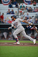 Mahoning Valley Scrappers Henderson De Oleo (17) bats during a NY-Penn League game against the Auburn Doubledays on August 27, 2019 at Falcon Park in Auburn, New York.  Auburn defeated Mahoning Valley 3-2 in ten innings.  (Mike Janes/Four Seam Images)