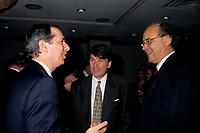 FILE PHOTO -  Daniel Johnson (L), Jean-Paul Gobe (M) and Yvon Charbonneau (R) in March 1994.<br /> <br /> Photo : Pierre Roussel - Agence Quebec Presse<br /> <br /> <br /> <br /> <br /> <br /> <br /> .