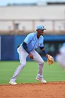 Tampa Bay Rays shortstop Alejandro Pie (64) during a Minor League Spring Training game against the Atlanta Braves on June 1, 2021 at Charlotte Sports Park in Port Charlotte, Florida.  (Mike Janes/Four Seam Images)