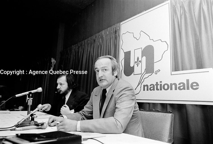 le chef de l'Union Nationale Gerard Loubier, le 18 Mai 1973<br /> <br /> <br /> PHOTO : Agence Quebec Presse - Alain Renaud