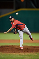 Peoria Chiefs relief pitcher Fabian Blanco (21) delivers a pitch during a game against the Bowling Green Hot Rods on September 15, 2018 at Bowling Green Ballpark in Bowling Green, Kentucky.  Bowling Green defeated Peoria 6-1.  (Mike Janes/Four Seam Images)