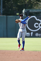 Sahid Valenzuela (2) of the Stockton Ports in the field during a game against the Inland Empire 66ers at San Manuel Stadium on June 27 2021 in San Bernardino, California. (Larry Goren/Four Seam Images)