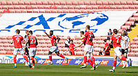 24th April 2021, Oakwell Stadium, Barnsley, Yorkshire, England; English Football League Championship Football, Barnsley FC versus Rotherham United; Barnsley team celebrate Carlton Morris of Barnsley early headed goal for 1-0 in minute 2