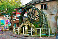 Located at Mill Top Tavern just off St. George Street in St. Augustine, Florida is a working water wheel.  The tavern is a renovated 19th century grist mill.  Driven by a well at the bottom of the wheel water pumped up to the top to drive the wheel.
