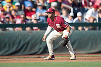 Florida State Seminoles third baseman Drew Mendoza (22) on defense during Game 2 of the NCAA College World Series against the Arkansas Razorbacks on June 15, 2019 at TD Ameritrade Park in Omaha, Nebraska. Florida State defeated Arkansas 1-0. (Andrew Woolley/Four Seam Images)