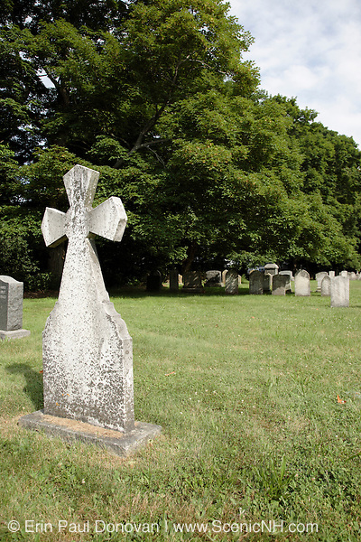 Saint Mary's Cemetery during the summer months. Located in Portsmouth, New Hampshire USA, which is part of scenic New England