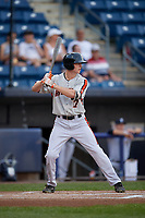 Aberdeen Ironbirds Mason Janvrin (17) at bat during a NY-Penn League game against the Staten Island Yankees on August 22, 2019 at Richmond County Bank Ballpark in Staten Island, New York.  Aberdeen defeated Staten Island 4-1 in a rain shortened game.  (Mike Janes/Four Seam Images)
