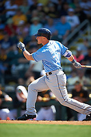 Tampa Bay Rays designated hitter Jake Bauers (70) follows through on a swing during a Spring Training game against the Pittsburgh Pirates on March 10, 2017 at LECOM Park in Bradenton, Florida.  Pittsburgh defeated New York 4-1.  (Mike Janes/Four Seam Images)