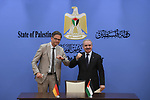 Palestinian prime minister Mohammad Shtayyeh meets with Germany's Ambassador Oliver Ovica in the Israeli-occupied West Bank city of Ramallah on September 15, 2021. Photo by Prime Minister Office