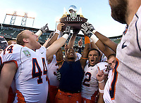 Illinois football players celebrate after winning the Kraft Bowl against UCLA at AT&T Park in San Francisco, California on December 31st, 2011.   Illinois defeated UCLA, 20-14.