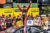 #20: Erik Jones, Joe Gibbs Racing, Toyota Camry Sport Clips Throwback in victory lane