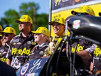 May 6, 2018; Commerce, GA, USA; NHRA top fuel driver Leah Pritchett celebrates with crew after winning the Southern Nationals at Atlanta Dragway. Mandatory Credit: Mark J. Rebilas-USA TODAY Sports