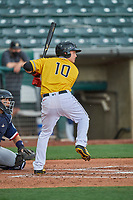 Matt Thaiss (10) of the Salt Lake Bees at bat against the Tacoma Rainiers at Smith's Ballpark on May 16, 2021 in Salt Lake City, Utah. The Bees defeated the Rainiers 8-7. (Stephen Smith/Four Seam Images)