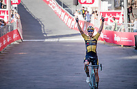 Wout Van Aert (BEL/Jumbo-Visma) crosses the finish line solo and wins the 14th Strade Bianche 2020 after finishing 3rd twice in his 2 previous attemps at the race.<br /> Siena > Siena: 184km (ITALY)<br /> <br /> delayed 2020 (summer!) edition because of the Covid19 pandemic > 1st post-Covid19 World Tour race after all races worldwide were cancelled in march 2020 by the UCI