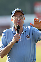 Batavia Muckdogs former announcer Wayne Fuller addresses the crowd after the press box was named after him before a game vs. the Auburn Doubledays at Dwyer Stadium in Batavia, New York June 19, 2010.   Batavia defeated Auburn 2-1.  Photo By Mike Janes/Four Seam Images