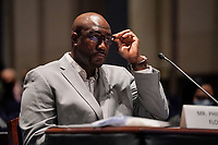 Philonise Floyd, brother of George Floyd, pauses as he gives his opening statement during a House Judiciary Committee hearing to discuss police brutality and racial profiling on Wednesday, June 10, 2020.<br /> Credit: Greg Nash / Pool via CNP/AdMedia