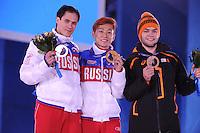 OLYMPICS: SOCHI: Medal Plaza, 15-02-2014, Short Track, Men's 1000m, Vladimir Grigorev (RUS), Victor An (RUS), Sjinkie Knegt Brons (NED), ©photo Martin de Jong